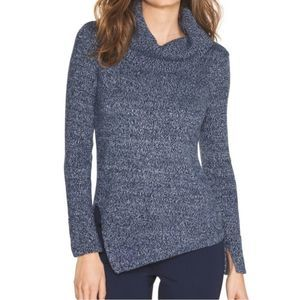 WHBM Marled Cowl Neck Sweater Small Blue